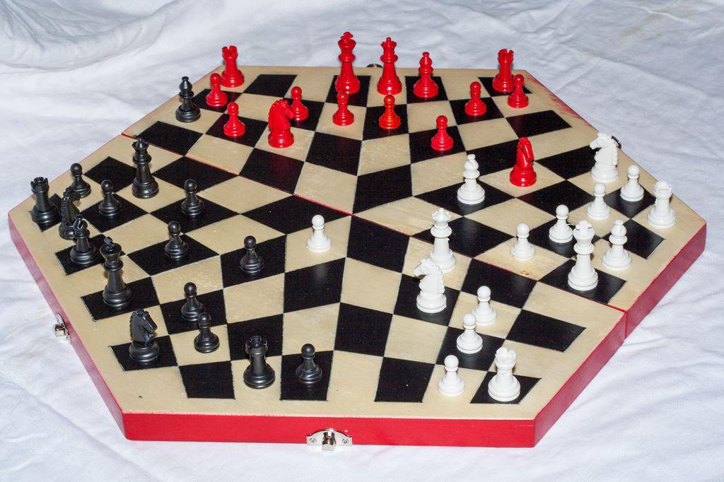 regalo di scacchi tripartita a scacchi 3 persone a scacchi scacchiera per tre giocatori